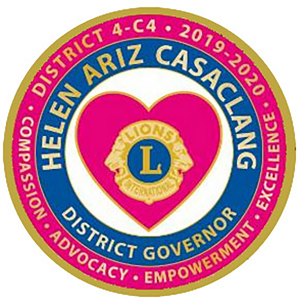 Lions District 4-C4 - Serving San Francisco County, San Mateo County and the City of Palo Alto. District Governor Helen Ariz Casaclang's pin for her term leading the district from 2019-2020